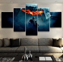 цены Canvas Prints The Dark Knight Movie Posters For Living Room Wall Art Pictures 5 Pieces Batman Paintings Home Decor Framework