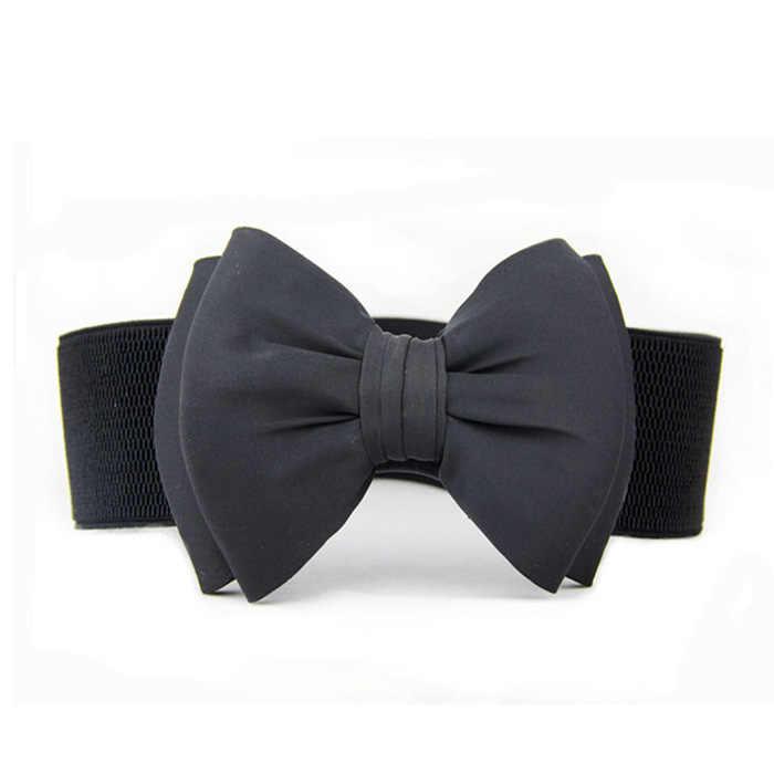 Kobiety Lady Bowknot Stretch elastyczny łuk szeroki Stretch Bukle pas biodrowy pas gorąca sprzedaż moda femme pas AA