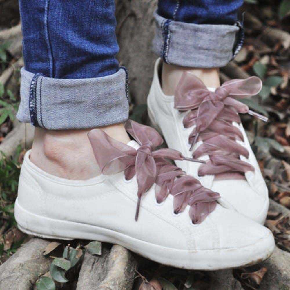 1 คู่ 110 เซนติเมตรแฟชั่น Shoestrings ผู้หญิง Shoelaces แบนผ้าไหมซาตินริบบิ้นรองเท้า Laces รองเท้าผ้าใบกีฬารองเท้าลูกไม้