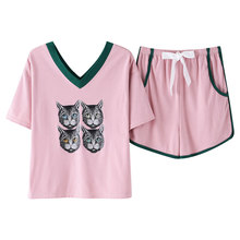 פיג מה סט קיץ 100% כותנה פיג מה נשים של קצר שרוול מתוק חמוד בעלי החיים חתול חולצה בית שירות בתוספת גודל M, l, XL, XXL, XXXL