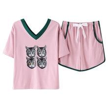 Pajamas Set Estate 100% Pigiama di Cotone A Manica Corta delle Donne Dolce Animale Sveglio del Gatto Camicia di Servizio A Casa Più Il Formato M, l, XL, XXL, XXXL