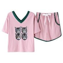 Pajamas Set Summer 100% Cotton Pajamas Womens Short Sleeve Sweet Cute Animal Cat Shirt Home Service Plus Size M,L,XL,XXL,XXXL