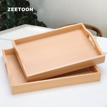 Creative Natural Solid Wood Tea Tray Fruit Nuts Trays Teacup Pot Holder Teaware Accessories Long Dish Decoration Display Plate
