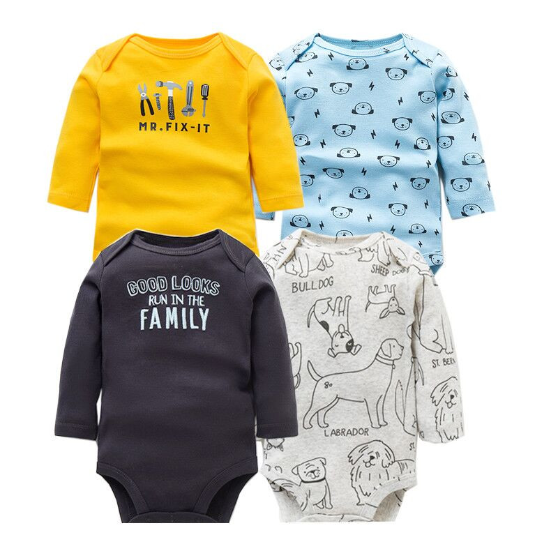 Image 4 - 4 PCS/LOT Soft Cotton Baby Bodysuits Long Sleeve Newborn Baby Clothing Set Christmas Baby Girls Boys Clothes Infant Jumpsuit-in Bodysuits from Mother & Kids