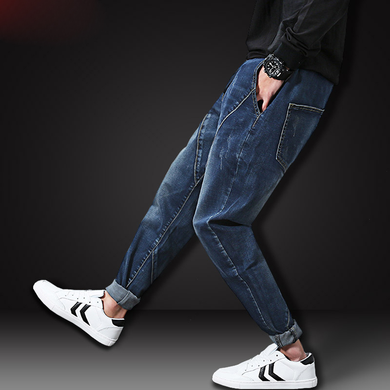 New Trend Large Plus Size L-6XL Blue Elastic Men Jeans Slim Fat Denim Harem Pants High Quality Mens Trousers Chic MK0133