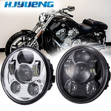 45w 5-3/4 5.75LED Projection  Led Headlight For 98 Sporster XL 1200 883 Dyna Glide Fat Bob Street Bob 5 twin dual daymaker led headlight for harley dyna fat bob fxdf model daymaker led lamp 5 fat bob projector led headlights