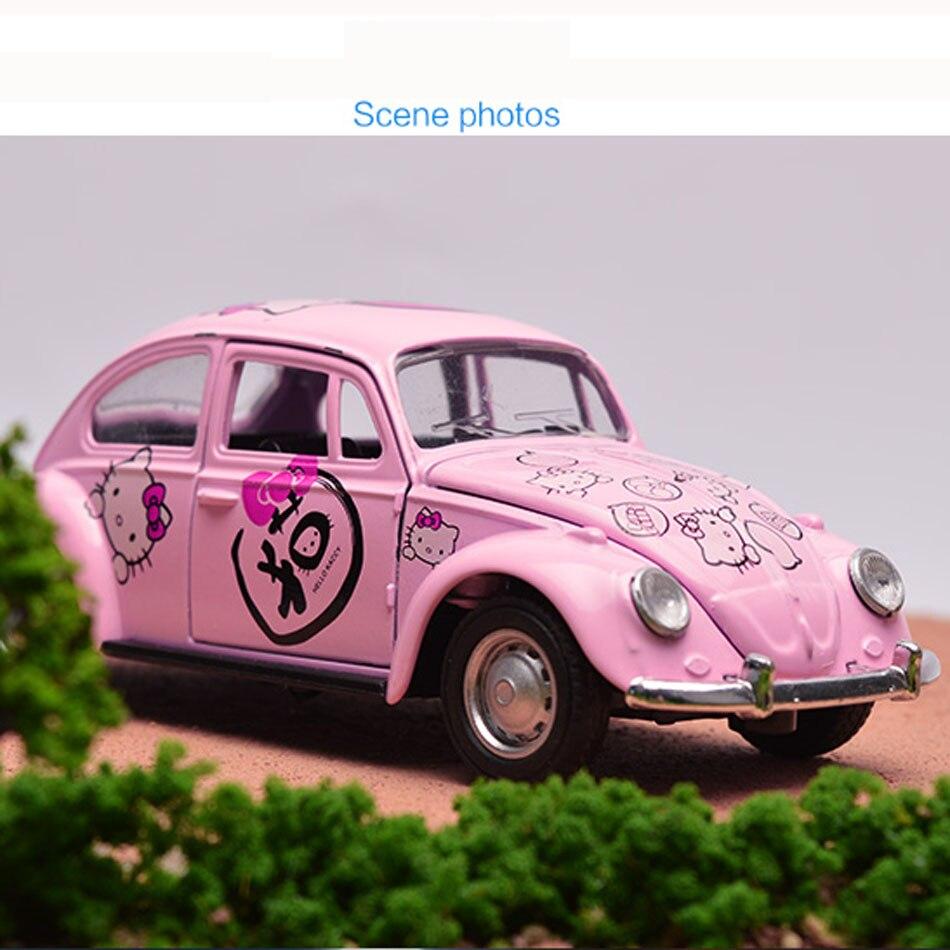 New Arrival Pink 1:32 Hello Kitty Car Alloy Mini Toys Car Beetle Children Toy Hotwheels Cars Model Kids Gift Antistress Toys