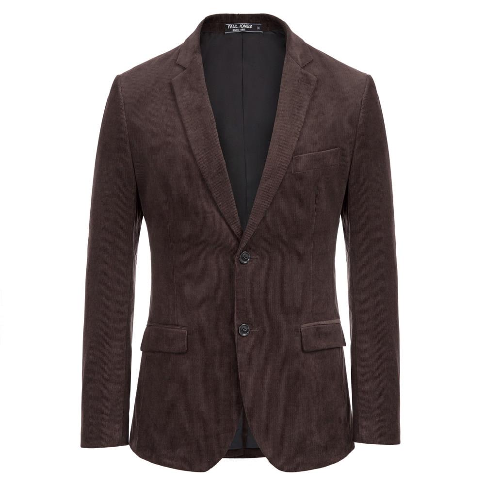 Men Office Business Coat Work Wear Classic Retro Solid Slim Corduroy Blazer Coat Cotton Two-Button Notch Lapel Back Split Jacket