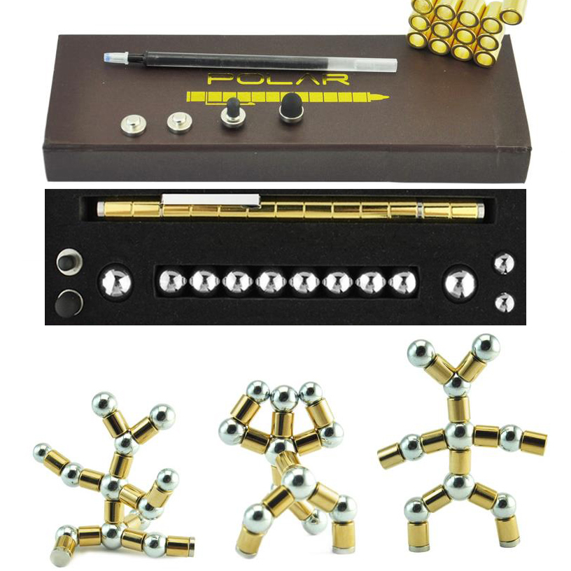 High Quality Focus Modular Magic Magnetic DIY Capacitance Ball Pen Tri-Spinner Full Metal Cube Tool Toy Ballpoint Pen 03655 grammar practice pre intermediate a complete grammar workout for teen students cd rom