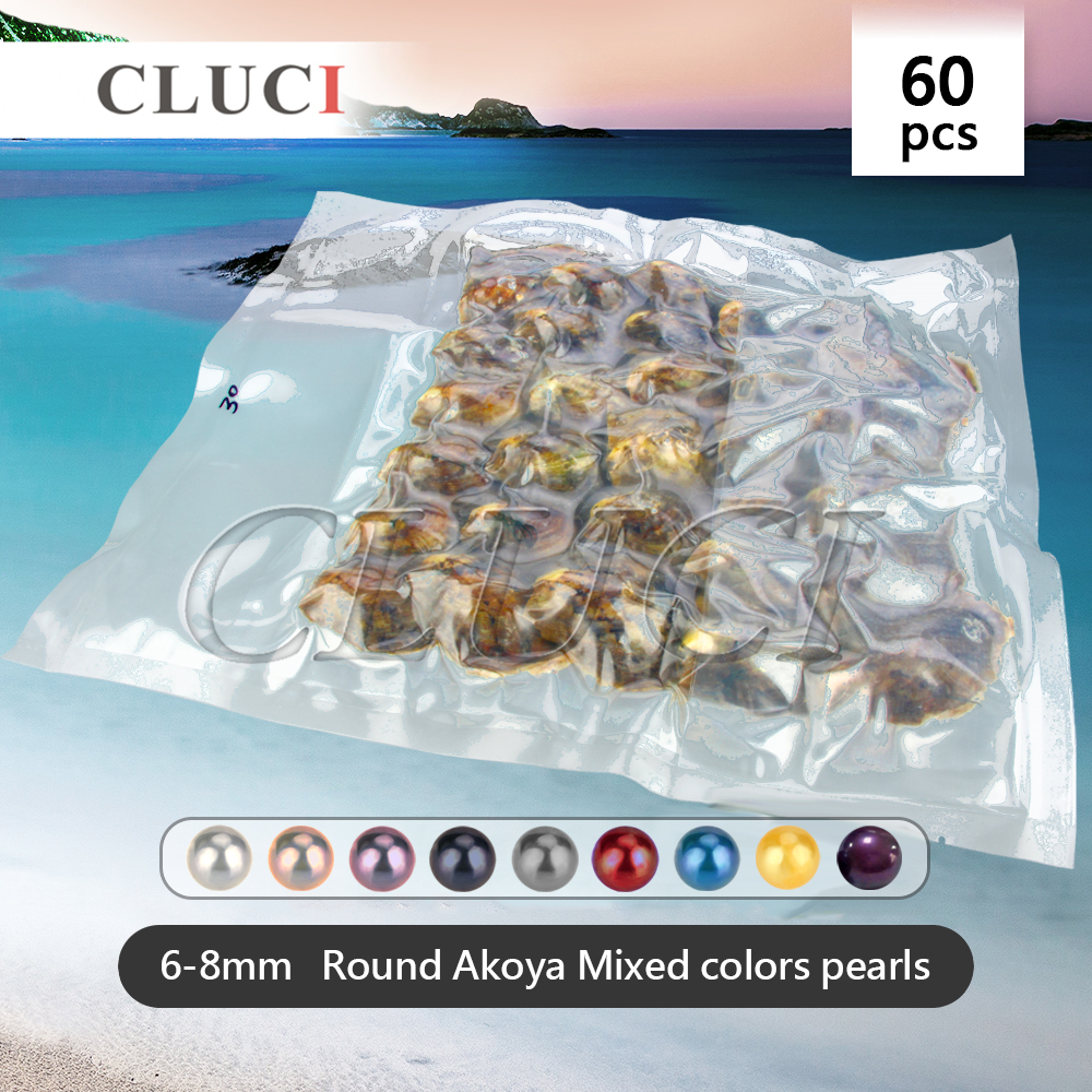 Party pack, 60pcs Mixed random colors saltwater akoya pearls in oysters 6-8mm , 30pcs in one vacuum bag