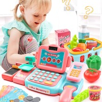 24Pcs Electronic Mini Simulated Supermarket Cash Register Kits Toys Kids Checkout Counter Role Pretend Play Cashier Girl Toy