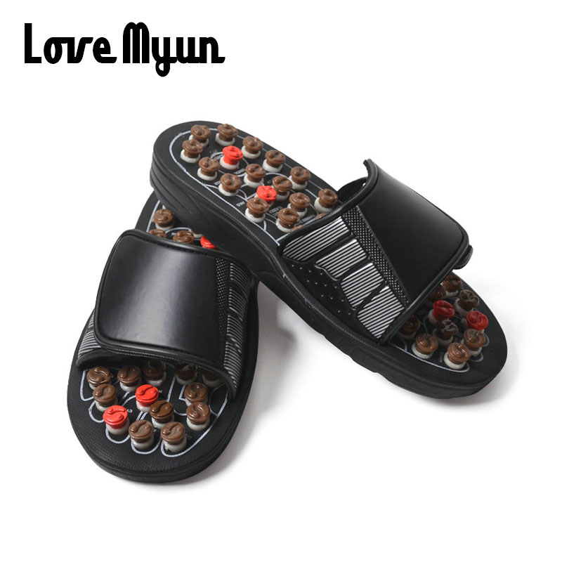 Dropshipping mens Acupoint Massage Slippers Chinese Acupressure Therapy Medical Foot Massager Shoes WD-100