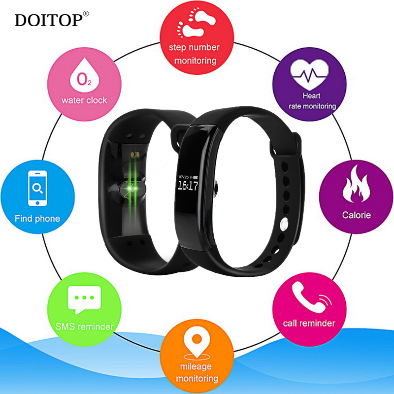 DOITOP Smart Fitness Heart Rate Monitor Bracelet Sports Calorie Step Number Monitor Wris ...