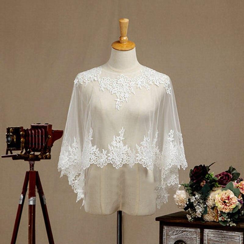 Beau boléro de mariage en dentelle blanc cassé veste d'épaules de mariée châle taille américaine 6-20