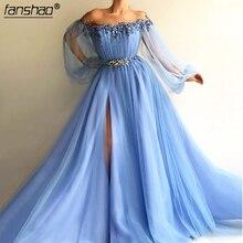 Evening-Dresses Tulle Arabic A-Line Long-Sleeves Formal Islamic-Dubai Blue High-Split