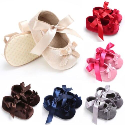 Baby Shoes Newborn Toddler Girl Princess Crib Shoes Bow Pram Soft Sole Prewalker Anti-slip Sneakers First Walkers
