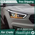 AKD Car Styling para Hyundai IX25 Creta Faros 2014-2015 Faros LED DRL LED Bi Xenon Lente de Alta Baja haz de Aparcamiento