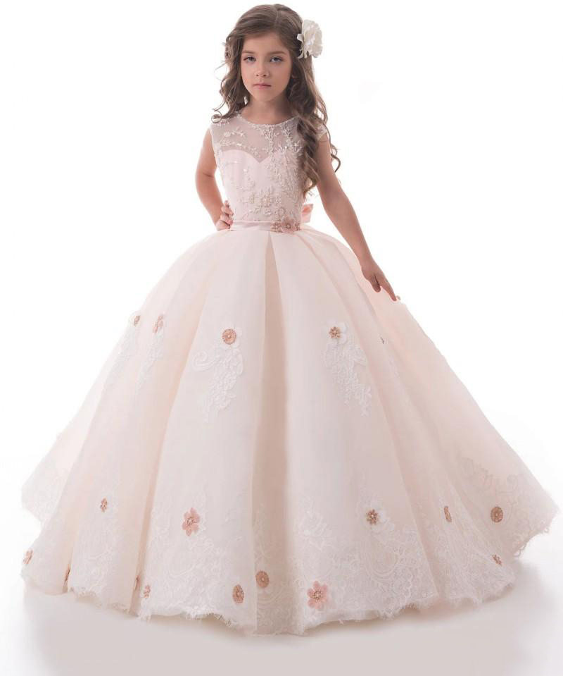 2019Light Blush Pink   Flower     Girl     Dresses   For Weddings Lace Applique Kids Ball Gown Flowergirl Sweep Train First Communion   Dress