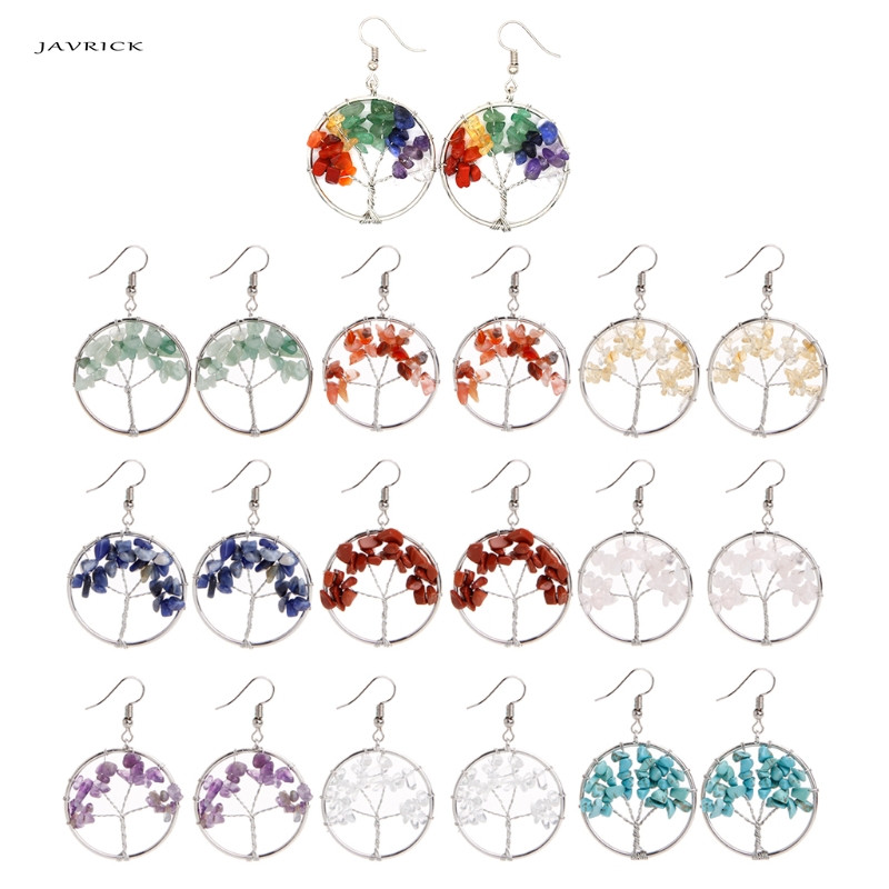 JAVRICK Tree of life Drop Rose Crystal Earrings Women Chakra Jewelry party Accessories