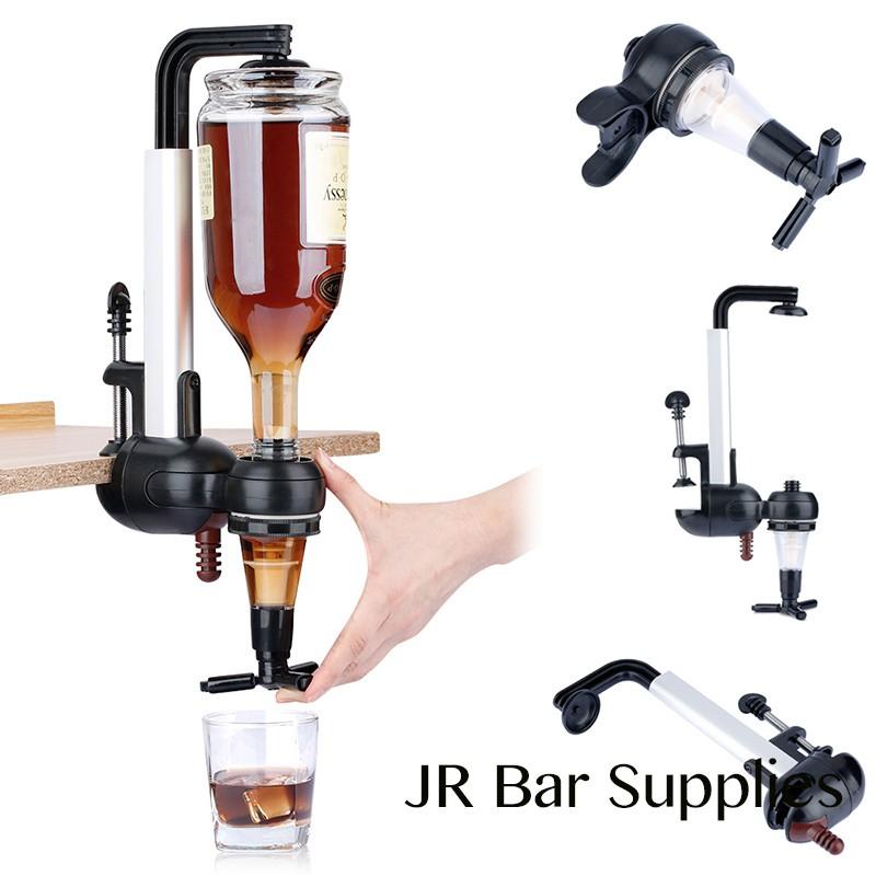 Optics Dispenser Drinks Spirits Drinkware Set Rotary 4 Station Steel Bar Butler Bottle Wine Stand