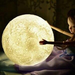Image 3 - Nowość lampa wydruk 3D księżyc lampka nocna 2 kolory sterowanie dotykowe kryty Home Decor sypialnia regał dzieci dzieci prezenty Chirstmas