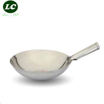 free shipping wok 32cm stainless steel wok pan cooking wok cookware utensil many sizes for selection Frying Pan  cooking pot