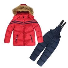 Russia Winter Kids Clothes Boys Girls Cotton Snow Coat Children Warm Jacket Toddler Snowsuit Outerwear Romper Clothing Set 1-5 Y