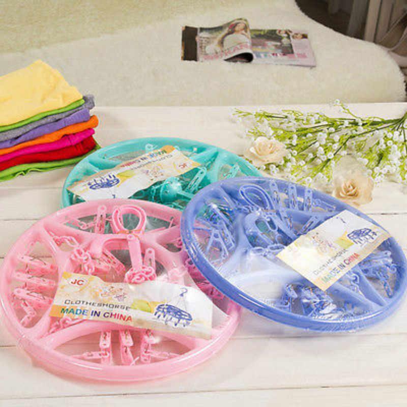 18 Pins พลาสติกแห้งแขวน Rack ซักรีดแขวนถุงเท้าเสื้อผ้ารองเท้าวงกลม