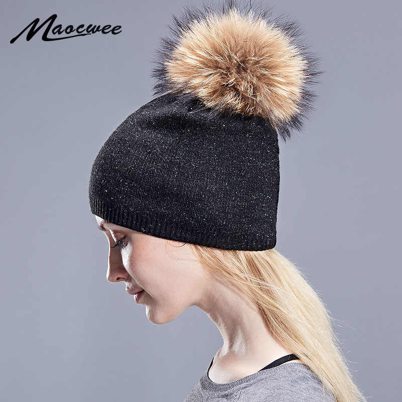 Female Wool Hat Women Real Raccoon Fur Pom Poms Warm Knitted Casual Vogue Winter Bright Silk Hats Caps   Skullies     Beanies   2018