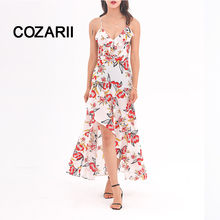 COZARII Sexy Bohemia print Lace Maxi Dress Strap Deep V Neck Split Dresses Women 2018 Summer Backless Chiffon Long Dress vestido цена и фото