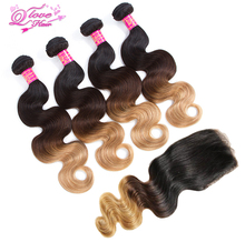 Queen Love Hair Pre-Colored 4 Bundles Ombre Mongolian Body Wave Human Hair Bundle With Closure Weave 1b/4/27 Non Remy Hair