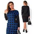Long Sleeve Plus Size Women Loose Casual Office Dresses 6XL Big Size Bodycon Dress Blue Black Grid 5XL Large Size Women Dress