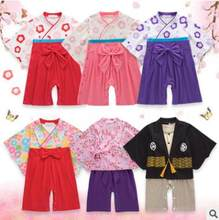 Baby Girls Cotton Japanese Kimono Clothes Baby Boy Girl Rompers Infant Clothing Sets Long Sleeves Coveralls Baby Clothes Hallowe(China)