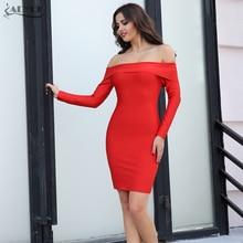Adyce 2017 New Arrival Winter Bandage Dress Red Black White Slash Women's Long Neck Sleeve Dresses Celebrity Dress Party Dresses