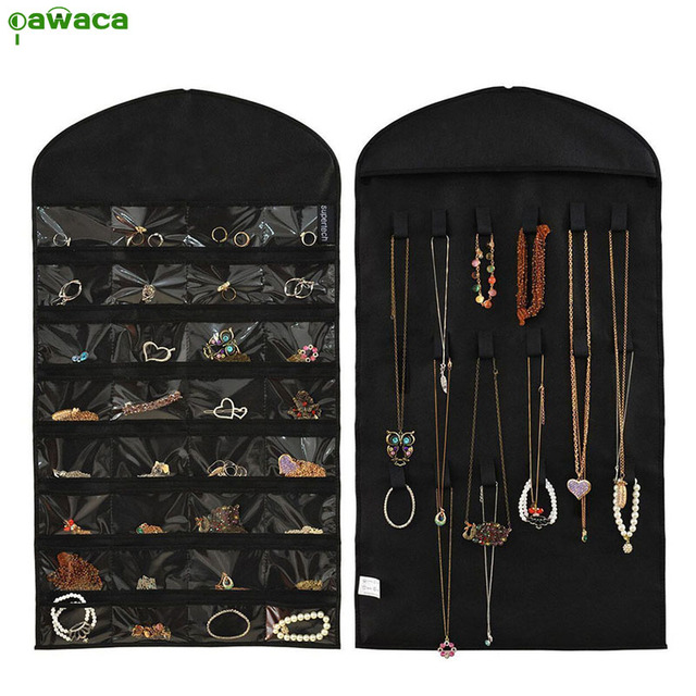 Pawaca Hanging Storage Bag Double Sided Jewelry Display Holder 32