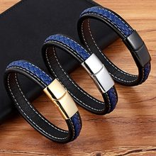 2018 Cross Braided Design Leather Bracelet for Men Women Stainless Steel Magnetic Button Charm Cuff Bangle Gift 3 Sizes Choose(China)