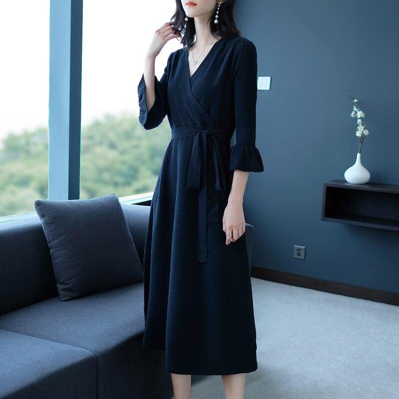Корейский женское платье осень и зима талия была тонкой вязать дна дикий Женская Мода
