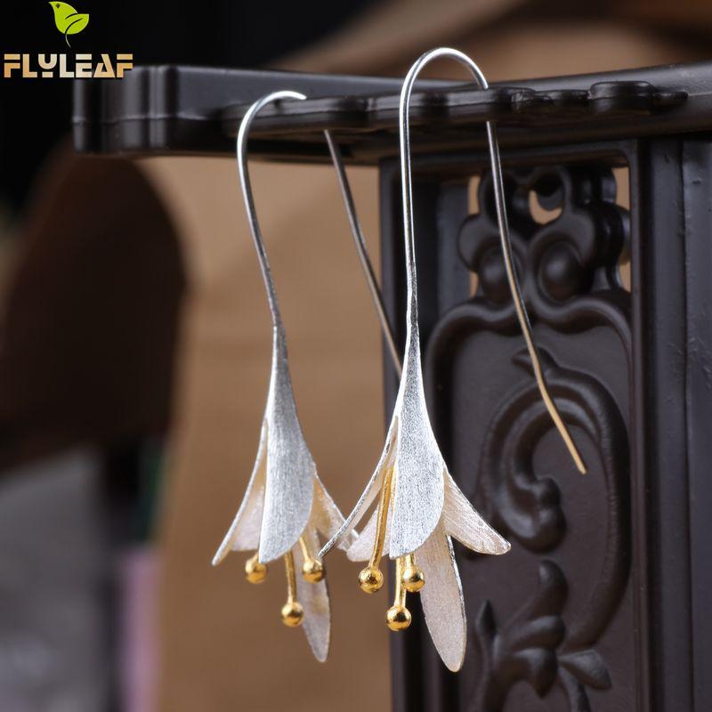 Висячие серьги из стерлингового серебра 925 пробы с цветами, длинные серьги для женщин, элегантные женские серьги из гипоаллергенного серебр...