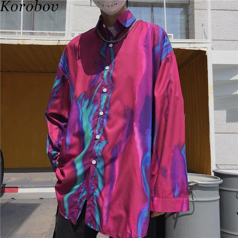Женская блузка с отложным воротником Korobov, Корейская свободная уличная блузка с японским принтом, новинка 76589