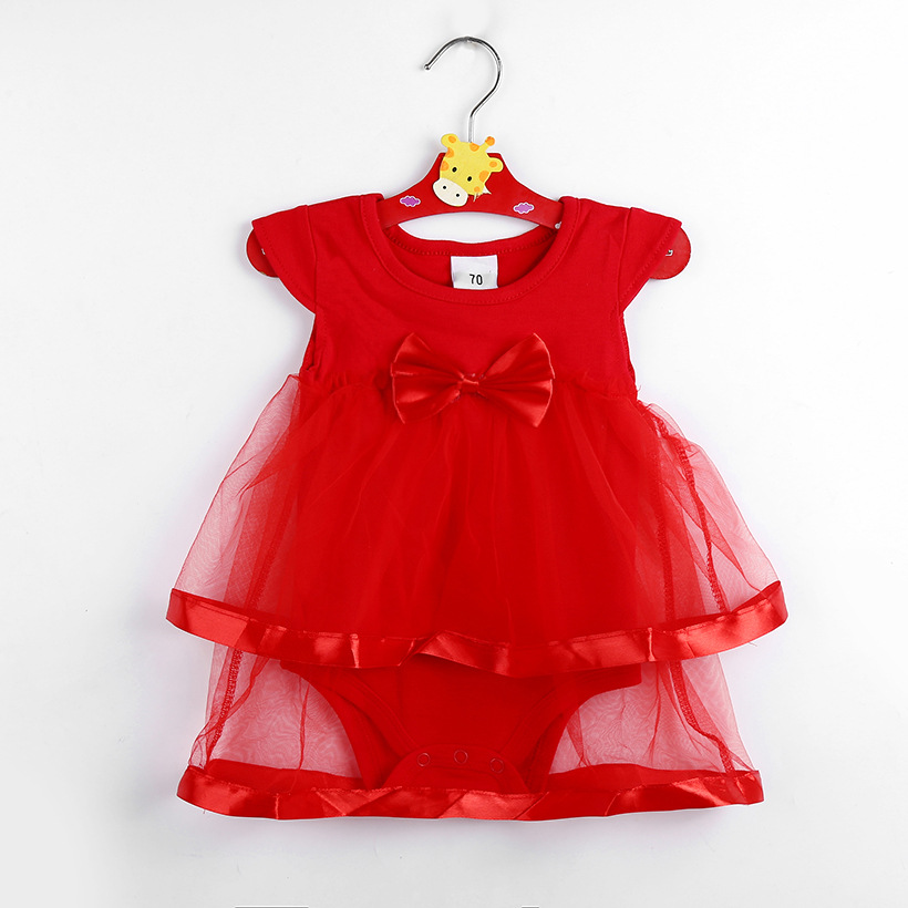 Summer baby girls short sleeve cotton bodysuit newborn jumpers fashion princess infant soft lace bow skirt overalls 17J701