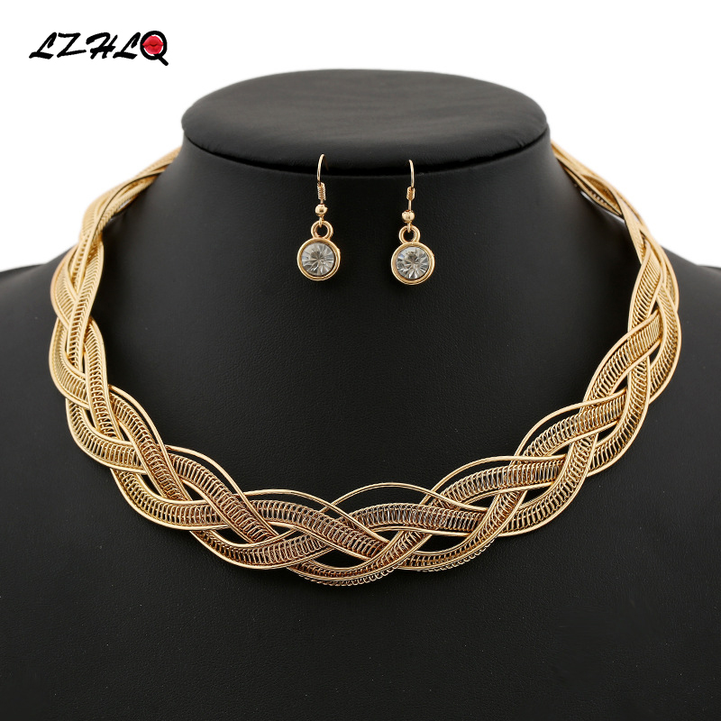 Punk Rock Multilayer Twisted Singapore Chain Chunky Statement Necklace