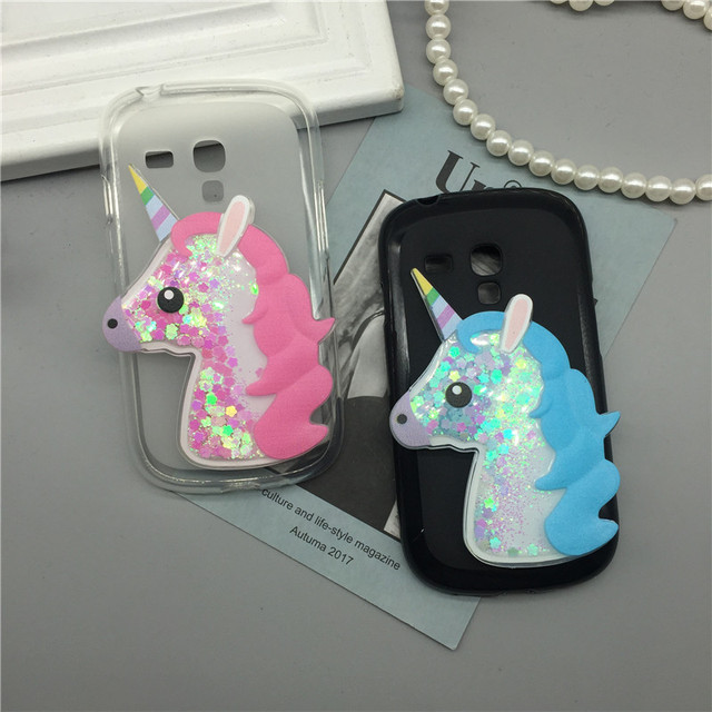 buy popular 23f6d 659cb US $1.63 18% OFF|3D Unicorn Quicksand Liquid Soft Silicone Case for Samsung  Galaxy S3 Mini /S3Mini GT i8190 i8200 Phone Cover Cartoon Diamond-in ...