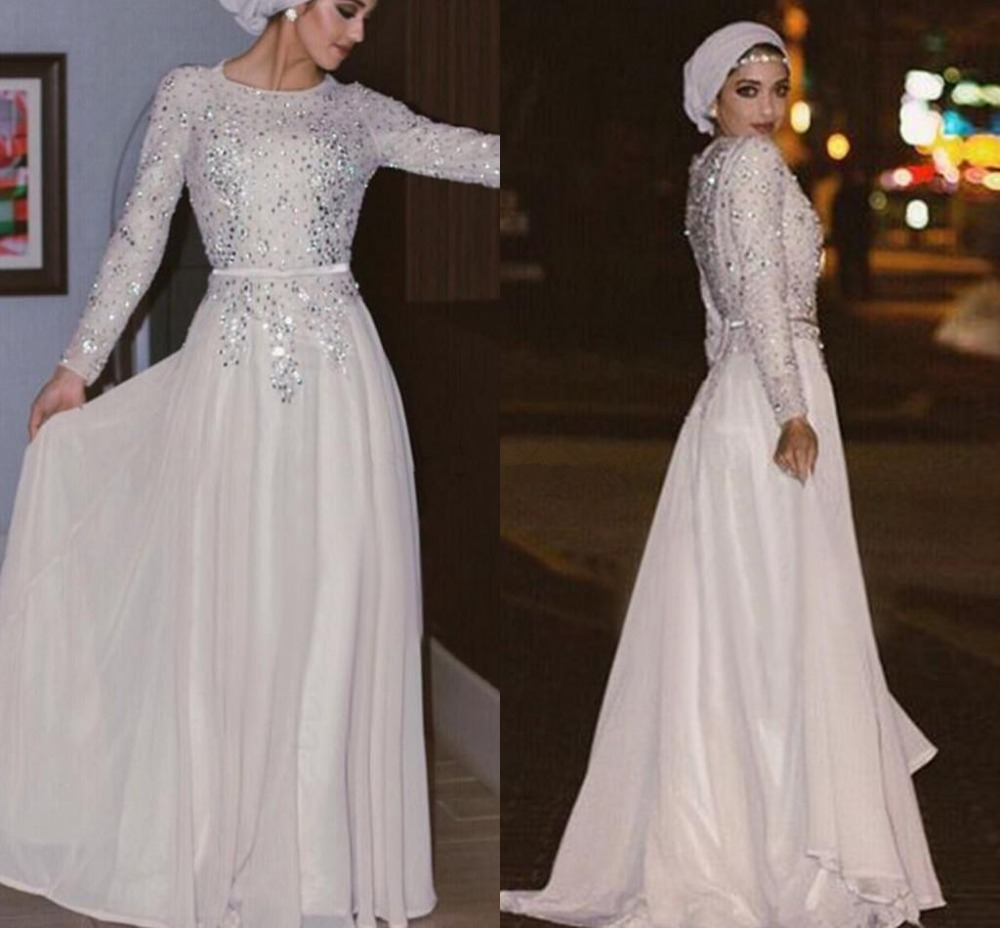 Silver Muslim   Evening     Dresses   2019 A-line Long Sleeves Chiffon Beaded Sparkle Islamic Dubai Saudi Arabic Long   Evening   Gown Prom