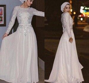 Image 1 - כסף מוסלמי ערב שמלות אונליין ארוך שרוולי שיפון חרוזים Sparkle האסלאמי דובאי ערב ערבית ארוך ערב שמלת נשף