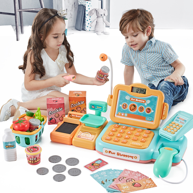 Intelligent Identification Scan Cash Register Toy for Kids Pretend Play Supermarket Shopping Toys Girls Christmas Gifts