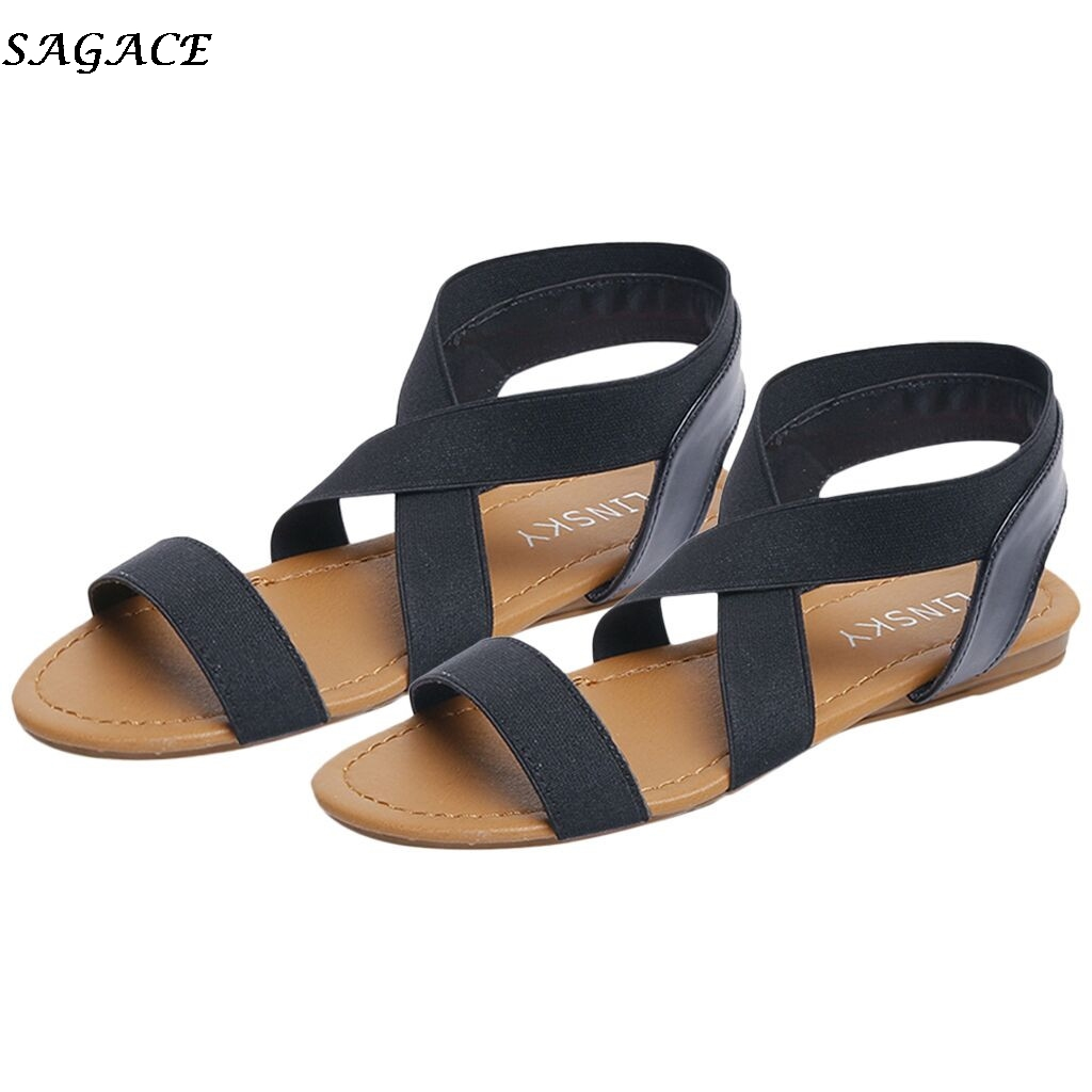 SAGACE Women's sandals Women 2019 New Summer Fashion Rome Cross Strap Flats Sandals Casual Low Heel Anti Skidding Beach Shoes#30