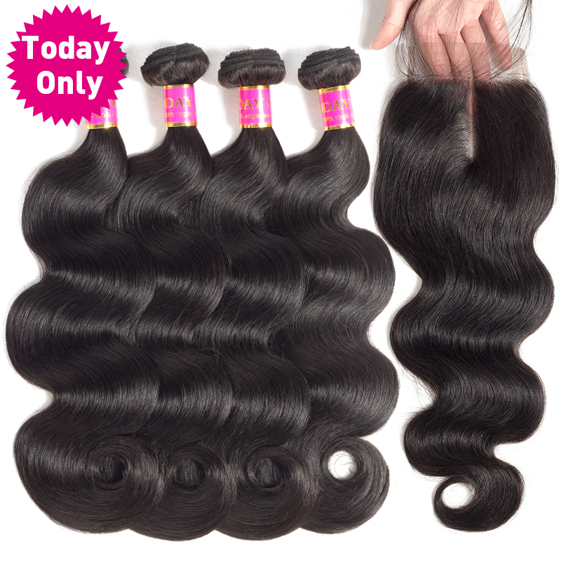 TODAY ONLY 4 Bundles With Closure Brazilian Hair Weave Bundles With Closure Brazilian Body Wave