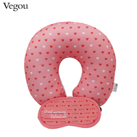 Vegou Pink Love Hearts U Shaped Pillow Eye Mask Set Car Head Neck Rest Air Cushion Microbeads Filling Health Cervical Pillow