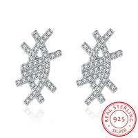 HERMOSA 100 Real 925 Sterling Silver Luxury Eye Shape Stud Earrings With Cubic Zirconia For Women
