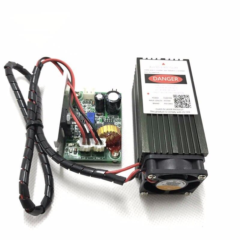 ICROATO 5.5w haute puissance 450NM mise au point module laser bleu gravure laser et découpe module TTL 5500mw tube laser